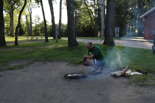 Our first campfire dinner of pancakes.