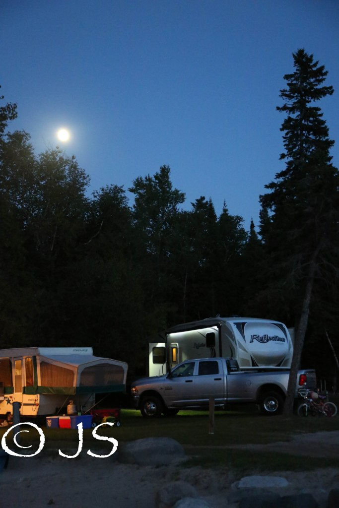 View of our campsite at night