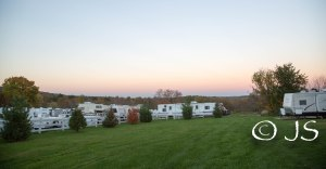 Campground view at sunset