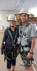 Zip-lining for our wedding anniversary