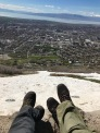Relaxing at the top. View of Provo and the lake.